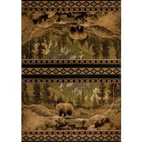 Wildwood Bear Gaze Beige Hand-carved Accent Rug - 1'10 x 3'1