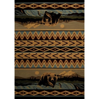 Wildwood Fishing Bear Blue Hand-carved Accent Rug (1'10 x 3')