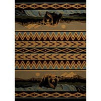 Wildwood Fishing Bear Blue Hand-carved Accent Rug - 1'10 x 3'1