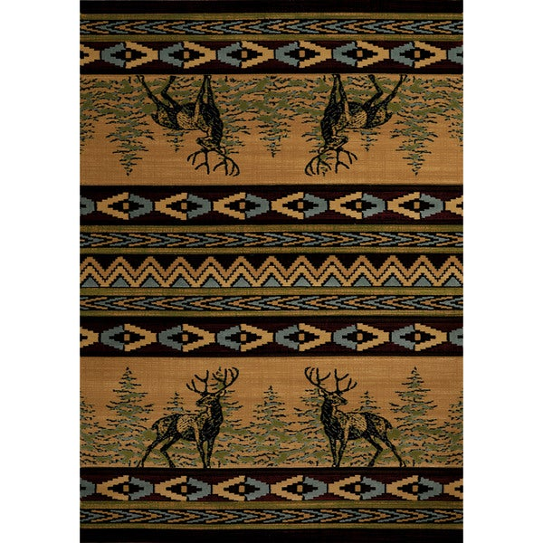 Wildwood Deer Alert Multi Hand-carved Accent Rug (1'10 x 3') - 1'10 x 3'1