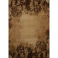 Wildwood Fallen Leaves Toffee Hand-carved Accent Rug (1'10 x 3')