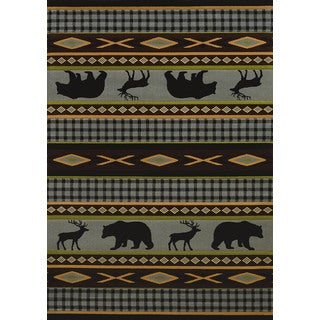 Wildwood Animal Trail Blue Hand-carved Accent Rug (1'10 x 3')