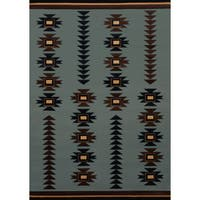 Wildwood Southwestern Arrow Blue Hand-carved Accent Rug - 1'10 x 3'1