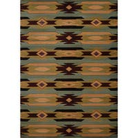 Wildwood Southwestern Star Blue Hand-carved Accent Rug - 1'10 x 3'1