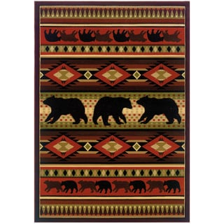 Wildwood Bear Play Hand-carved Accent Rug (1'10 x 3')
