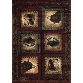 Wildwood Wolf and Bear Squares Burgundy Hand-carved Accent Rug (1'10 x 3')