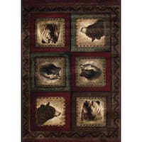 Wildwood Wolf and Bear Squares Burgundy Hand-carved Accent Rug - 1'10 x 3'1