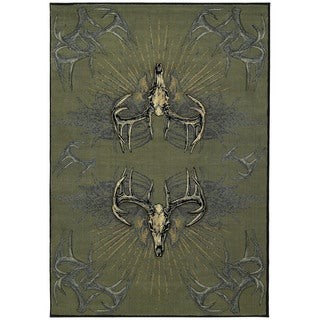 Wildwood Golden Horns Multi Hand-carved Accent Rug (1'10 x 3')