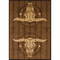 Wildwood Double Trouble Toffee Hand-carved Accent Rug - 1'10 x 3'1