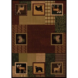 Wildwood Animal Squares Toffee Hand-carved Accent Rug (1'10 x 3')