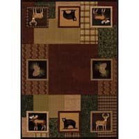 Wildwood Animal Squares Toffee Hand-carved Accent Rug - 1'10 x 3'1