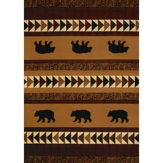 Wildwood Bear Trail Lodge Hand-carved Accent Rug (1'10 x 3')