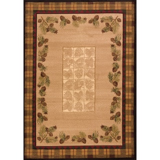 """Wildwood Plaid Pines Toffee Hand-carved Accent Rug - 2'7"""" x 4'"""