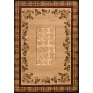 """Wildwood Plaid Pines Toffee Hand-carved Accent Rug - Natural/Brown - 2'7"""" x 4'"""