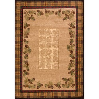 "Wildwood Plaid Pines Toffee Hand-carved Accent Rug (2'7 x 4'2) - 2'7"" x 4'"