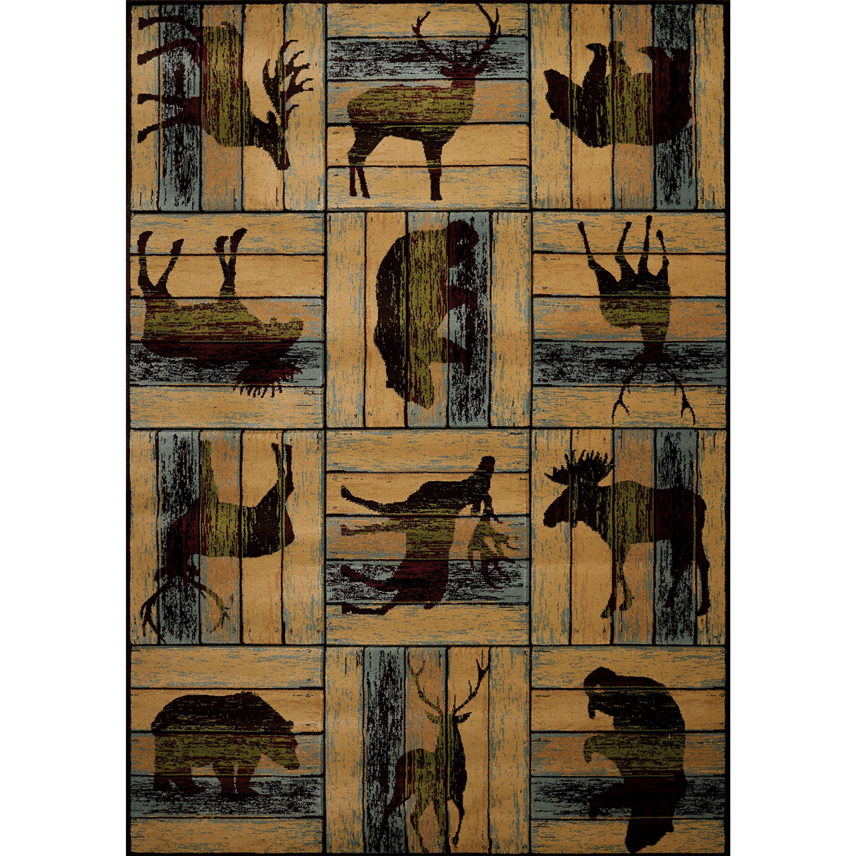 Wildwood Animal Blocks Multi Hand-carved Accent Rug – 2'7″ x 4′ (Multi)