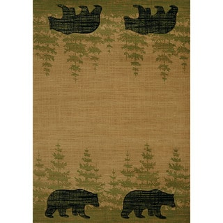 "Wildwood Walking Bear Beige Hand-carved Accent Rug (2'7 x 4'2) - 2'7"" x 4'"