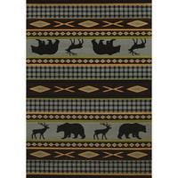 Wildwood Animal Trail Blue Hand-carved Accent Rug (2'7 x 4'2)