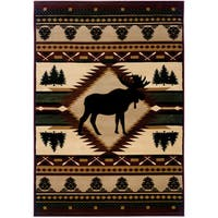 """Wildwood Proud Moose Multi Hand-carved Accent Rug - 2'7"""" x 4'"""