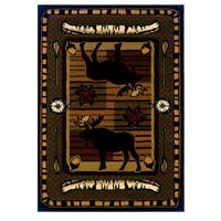 """Wildwood Moose Hunt Terracotta Hand-carved Accent Rug - 2'7"""" x 4'"""