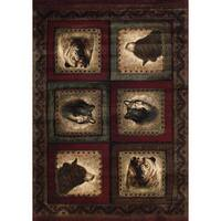 "Wildwood Wolf and Bear Squares Burgundy Hand-carved Accent Rug - 2'7"" x 4'"