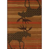 "Wildwood Moose Reflection Hand-carved Runner Rug - 2'7"" x 7'3"""