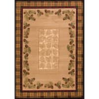 "Wildwood Plaid Pines Toffee Hand-carved Runner Rug - Natural/Brown - 2'7"" x 7'3"""