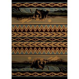 Wildwood Fishing Bear Blue Hand-carved Runner Rug (2'7 x 7'4)