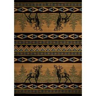 Wildwood Deer Alert Multi Hand-carved Runner Rug (2'7 x 7'4)