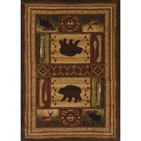 "Wildwood Wilderness Animals Toffee Hand-carved Runner Rug - 2'7"" x 7'3"""