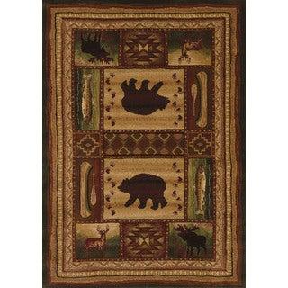 "Wildwood Wilderness Animals Toffee Hand-carved Runner Rug - 2'7"" x 7'3"""