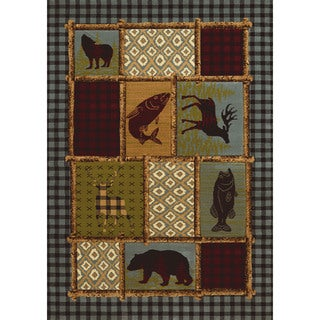 "Wildwood Bordered Montage Multi Hand-carved Runner Rug (2'7 x 7'4) - 2'7"" x 7'3"""