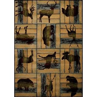 Wildwood Animal Blocks Multi Hand-carved Runner Rug (2'7 x 7'4)