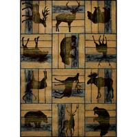 "Wildwood Animal Blocks Multi Hand-carved Runner Rug - 2'7"" x 7'3"""