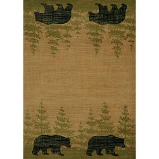 Wildwood Walking Bear Beige Hand-carved Runner Rug (2'7 x 7'4)