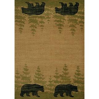 """Wildwood Walking Bear Beige Hand-carved Runner Rug (2'7 x 7'4) - 2'7"""" x 7'3"""""""