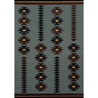 Wildwood Southwestern Arrow Blue Hand-carved Runner Rug (2'7 x 7'4)