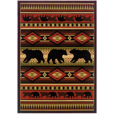 "Wildwood Bear Play Hand Carved Runner Rug - 2'7"" x 7'3"""