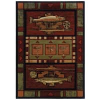 "Wildwood Fish Hunt Terracotta Hand-carved Runner Rug - Burgundy/Black - 2'7"" x 7'3"""