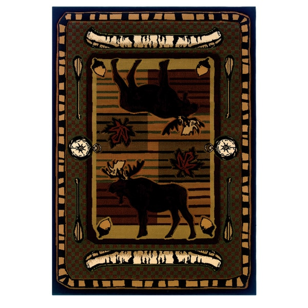 "Wildwood Moose Hunt Terracotta Hand-carved Runner Rug - 2'7"" x 7'3"""