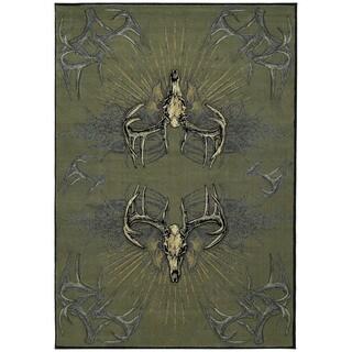 Wildwood Golden Horns Multi Hand-carved Runner Rug (2'7 x 7'4)