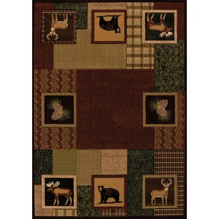 Wildwood Animal Squares Toffee Hand-carved Runner Rug (2'7 x 7'4)
