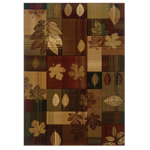 """Westfield Home Wildwood Autumn Leaves Multi Hand-carved Area Rug - 5'3"""" x 7'6"""""""
