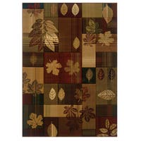 "Westfield Home Wildwood Autumn Leaves Multi Hand-carved Area Rug (5'3 x 7'6) - 5'3"" x 7'6"""