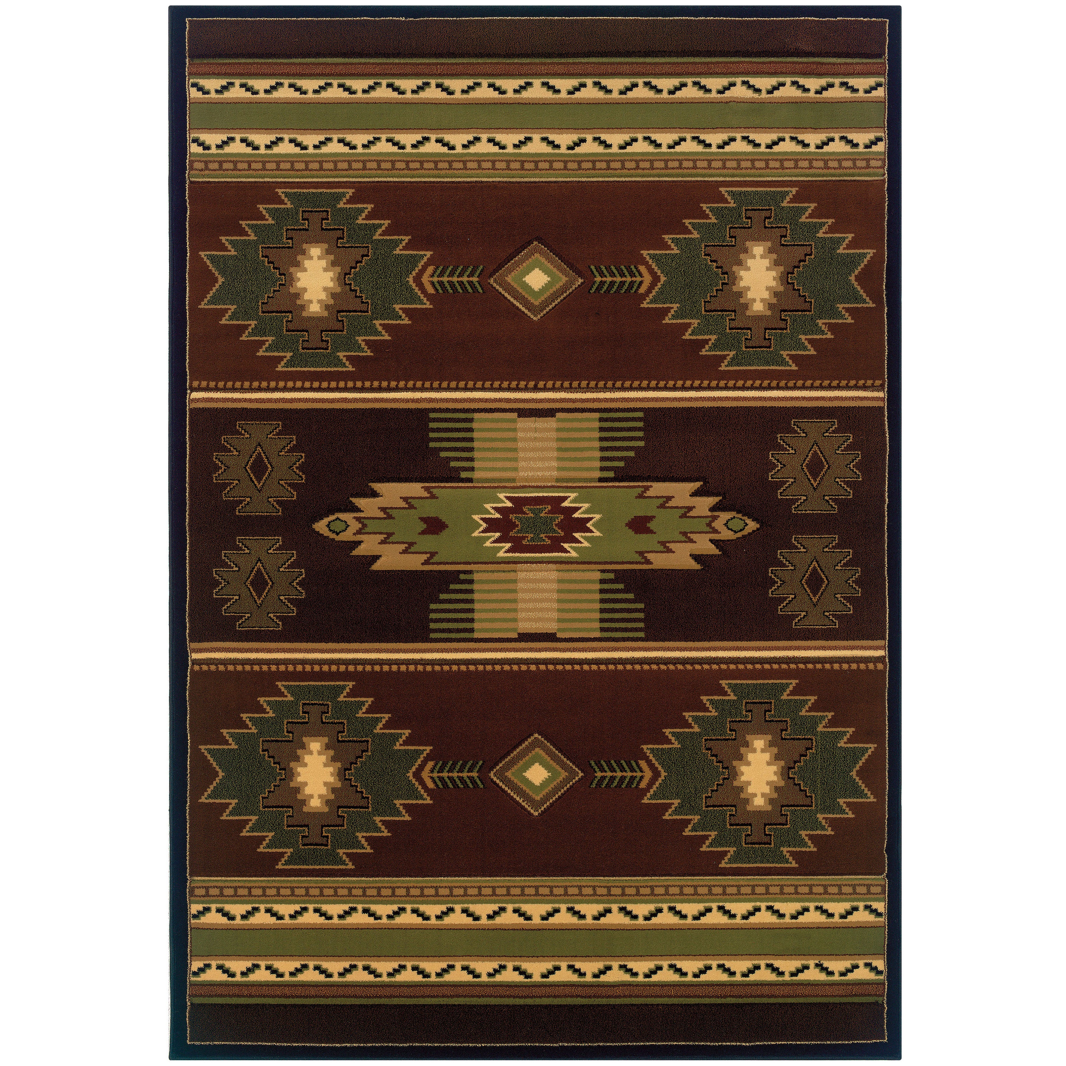 Wildwood Nashua Hand-carved Area Rug (5-feet 3-inches x 7-feet 6-inches) - 53 x 76 (Brown/Green)