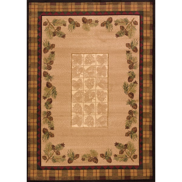 """Westfield Home Wildwood Plaid Pines Toffee Olefin Hand-carved Area Rug - 5'3"""" x 7'6"""""""