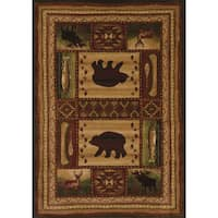 "Wildwood Wilderness Animals Toffee Hand Carved Area Rug - 5'3"" x 7'6"""