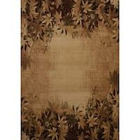 "Westfield Home Wildwood 'Fallen Leaves' Toffee Polypropylene Hand-carved Area Rug - 5'3"" x 7'6"""