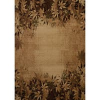 """Westfield Home Wildwood 'Fallen Leaves' Toffee Polypropylene Hand-carved Area Rug (5'3 x 7'6) - 5'3"""" x 7'6"""""""