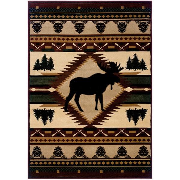 "Wildwood Proud Moose Multicolored Polypropylene Hand-carved Area Rug (5'3 x 7'6) - 5'3"" x 7'6"""